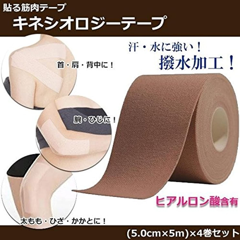 リマプライバシー一月貼る筋肉テープ キネシオロジーテープ ヒアルロン酸含有 日本製 4巻セット