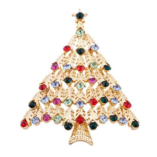 S&E Femmes Forme Charm Arbre de Noël de cristal de poitrine Colorful Broche fête Ornement Épinglette