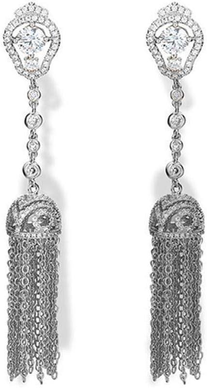 Yarmy Las señoras del oído circulación Pendientes de Perla Diamante tamaño: 8.2 * 1,2 cm