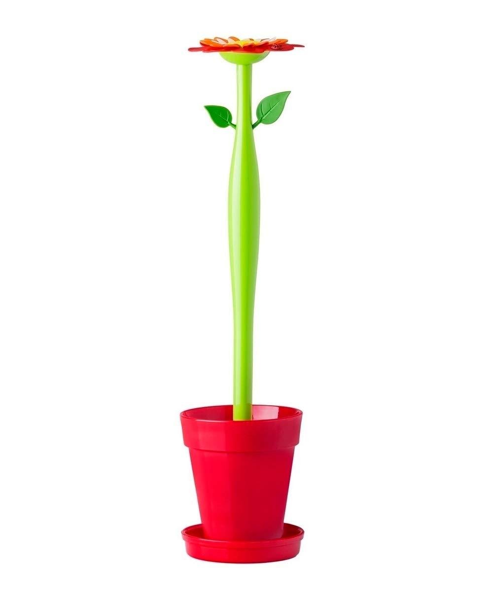 VIGAR Flower Power Set Escobillero WC, 12 x 12 x 48.5 cm, Blanco - 8024_ROJO VERDE BLANCO