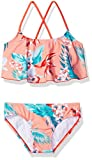 Kanu Surf Girls' Big Alania Floral Flounce Bikini Beach Sport 2-Piece Swimsuit, Coral, 12
