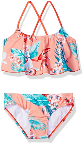 Kanu Surf Big Girls' Alania Flounce Bikini Beach Sport 2-Piece Swimsuit, Floral Coral, 14