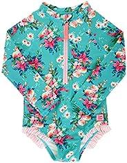 RuffleButts Girls Long Sleeve Zipper Rash Guard One Piece w/UPF 50+ Sun Protection