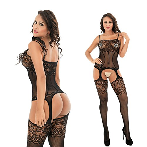 c423bd062f315 Deksias Womens Strap Floral Crotchless Bodystocking Plus Size Bodysuit for  Women - Buy Online in Oman.