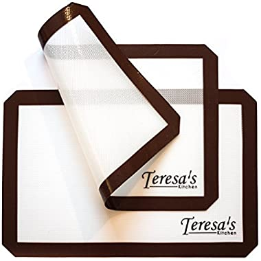 Teresa's Kitchen – Silicone Baking Mat - Non Stick – Baking Sheet for Oven or Toaster Oven – Cookie Sheets - Brown - Set of 2