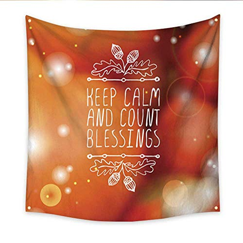 Anniutwo Wall Hanging Tapestry Keep Calm and Count Blessings Typographic Element Blanket Home Room Wall Decor 32W x 32L Inch -