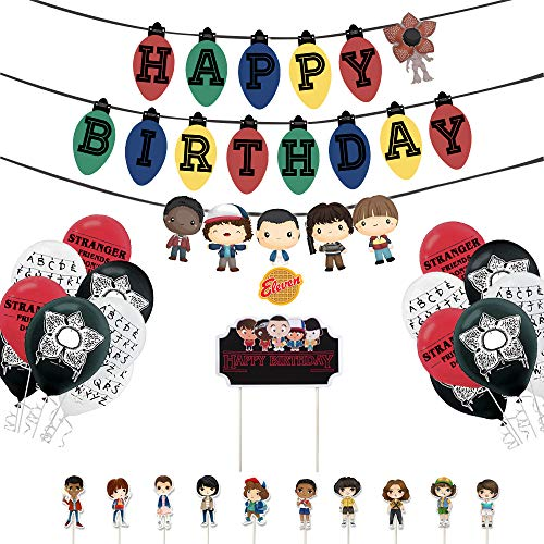 Vercico Stranger Eleven Things Themed Birthday Party Supplies Set Happy Birthday Banner, Cake Topper, Cupcake Toppers, Balloons for Kids Party Decorations