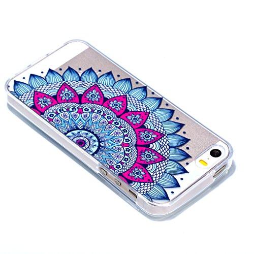 Crisant Blaue halbe Blume Drucken Design weich Silikon Ultra dünn TPU Transparent schutzhülle Hülle für Apple iPhone 5 5S / SE,Premium Handy Tasche Schutz Case Cover Crystal Bumper Schale für Apple iP