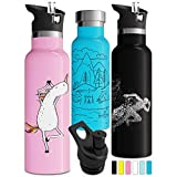 Best Insulated Water Bottle For Kids - Designed Black Vacuum Insulated Stainless Steel Water Bottle Review