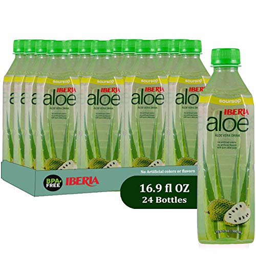 Iberia Aloe Vera Drink, Soursop (Pack of 24) With Pure Guanabana Juice and Aloe Pulp, Aloin-Free, No Artificial Flavors Preservatives or Colors, Gluten Free, Vegan