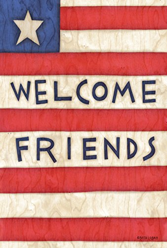 Toland Home Garden Patriotic Welcome Friends 28 x 40 Inch Decorative Americana Stars Stripes July 4 Double Sided House Flag