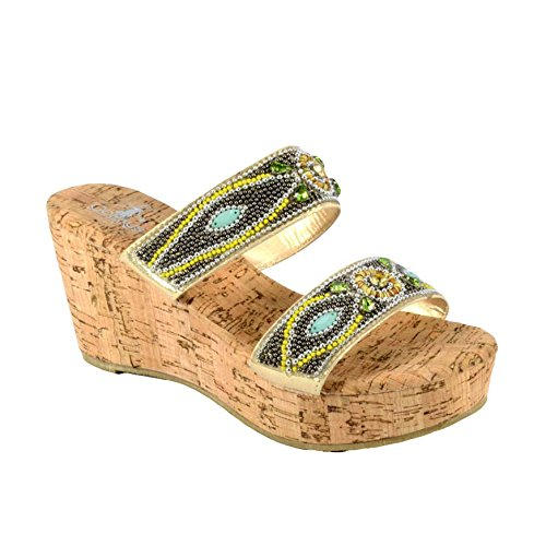 7dd68d94ce48f3 Corkys Women s Bliss Gold Gold Gold Wedge Sandals B01CTG50XY Parent 35ed43