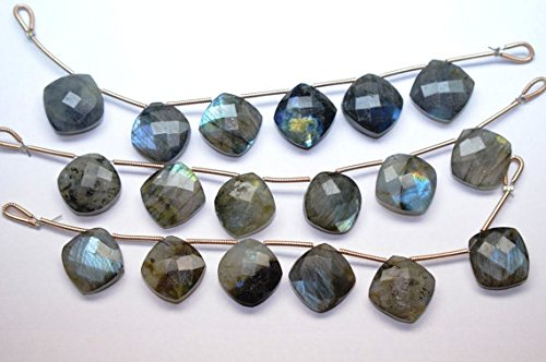 14mm 3 Matched Pair Natural Labradorite Faceted Cushion Shape Briolette Beads Strand