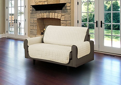 (Linen Store Quilted Microsuede Pet Dog Couch Furniture Protector Cover with Tucks, Beige, Loveseat)