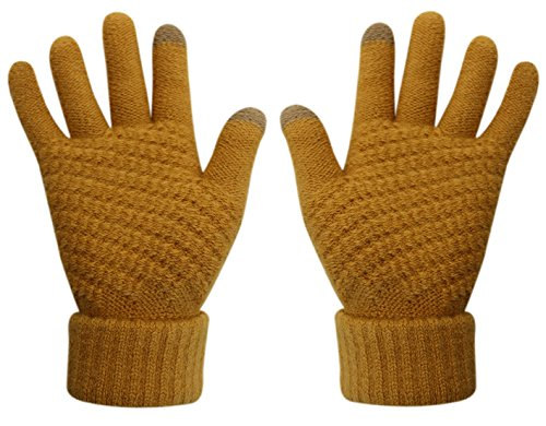 Womens & Girls Touch Screen Warm Soft Winter Knit Texting Gloves Cute Fashion Mittens for Smartphone Iphone Ipad (Yellow)