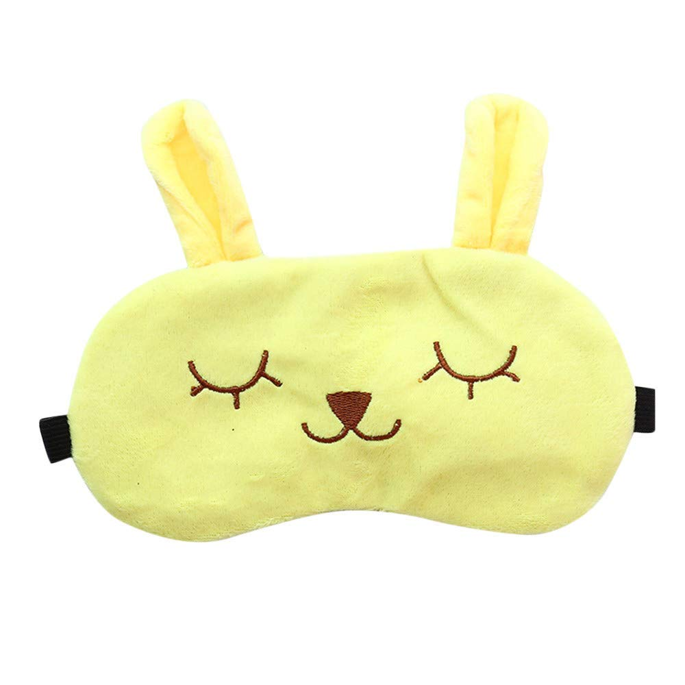 Saying Cute Cartoon Eyes-Closed Rabbit Sleep Eye Mask Padded Shade Cover Travel Relax Aid Soft Comfort Blindfold Great for Travel, Shift Work, Meditation for Women Girls (Yellow)