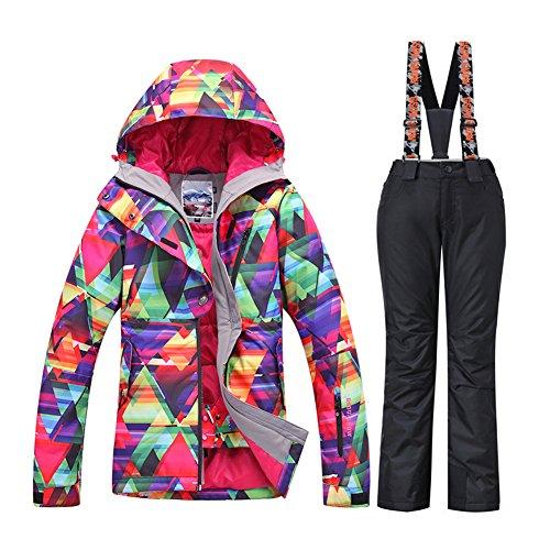 - HOTIAN Women's High Windproof Technology Colorful Snowboard Ski Jacket Pants Set