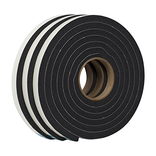 Duck Brand Self Adhesive Foam Weatherstrip Seal for Extra Large Gaps, 3/4-Inch x 1/2-Inch x 10-Feet, 3 Rolls, (Self Adhesive Foam)