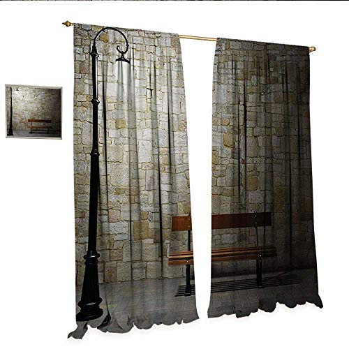 WinfreyDecor Street Decorative Curtains for Living Room Modern Avenue at Dark Night with a Open Lamp and Bench and Stone Wall Behind Image Room Darkening Wide Curtains W96 x L84 - Lamp Ashton Wall