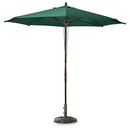 Beau Guide Gear 9u0027 Market Patio Umbrella With Pulley System Hardwood Pole, Hunter  Green