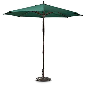 Guide Gear 9u0027 Market Patio Umbrella With Pulley System Hardwood Pole,  Hunter Green