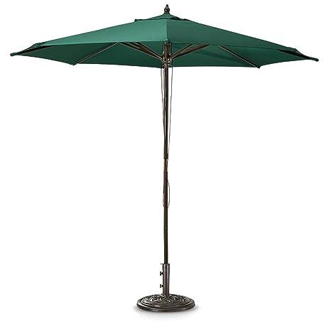 Elegant Guide Gear 9u0027 Market Patio Umbrella With Pulley System Hardwood Pole,  Hunter Green