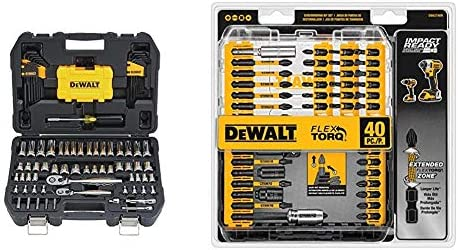 DEWALT Mechanics Tools Kit and Socket Set, 108-Piece (DWMT73801) & Screwdriver Bit Set, Impact Ready, FlexTorq, 40-Piece (DWA2T40IR),Black/Silver IMPACT READY FlexTorq Screw Driving Set, 40-Piece