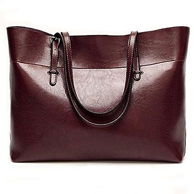 Leather Tote Bag for Women, Large Commute Handbag Shoulder Bag Zipper Women's Work Satchel Bag