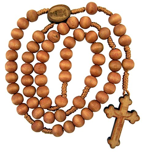 Rose Scented Wood Prayer Bead Rosary with Laser Engraved Cross Crucifix, 13 Inch