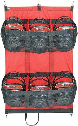 6 Helmet Red Baseball/Softball Travel Fence Hanging Bag