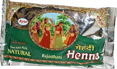High Quality Indian Ayur Henna (Mehendi) Powder for Glossy Hair Color - Dark Brown(3.5 Oz/ 100gms) (Henna Indian)