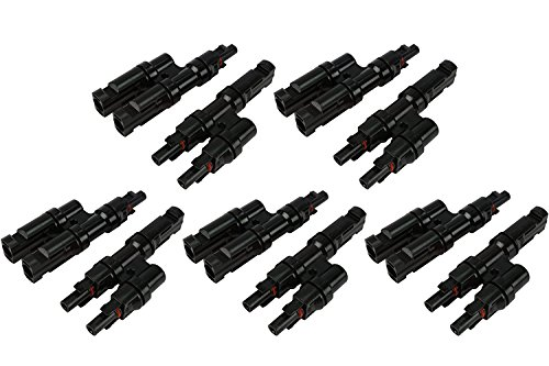VIKOCELL 30A MC4 Y Branch Solar Panel Adaptor Cable Connectors MMF+FFM (Pack of 5 Pairs)