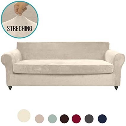 MOYMO 2-Piece Stretch Velvet XL Sofa Slipcover, High Stretch Couch Covers for 3 Cushion Couch, Slipcovers for Sofas, Couch Covers for Sofa, Living ...
