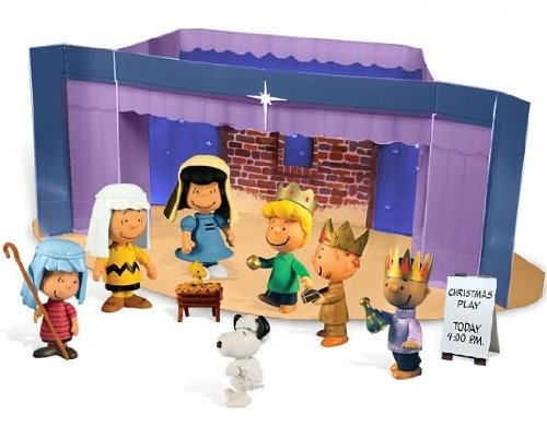 A Charlie Brown Christmas (9pcs.) Peanuts Nativity Pageant Mini Figure Set with Fold-out Christmas Play Stage]()