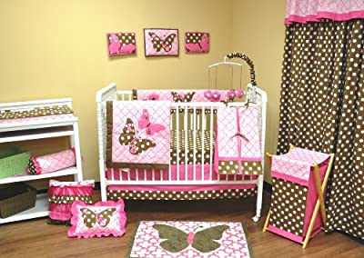 Pink & Brown Butterflies 10 piece Crib Bedding Set