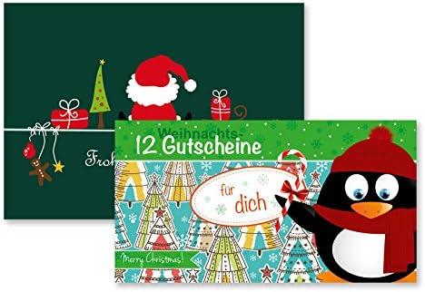 Gutscheinheft 12 Weihnachts-Gutscheine für Dich inkl. Klappkarte Weihnachtsmann Geschenkidee Weihnachten Weihnachtskarte Geschenkkarte