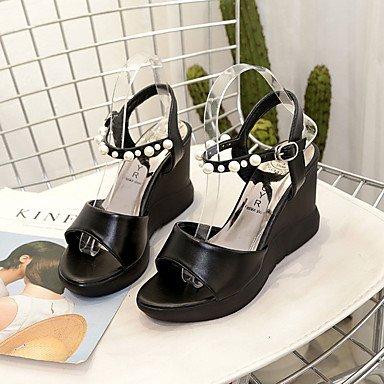pwne Sandalias Mujer Club Pu Primavera Verano Vestidos Zapatos Casual De Perlas De Imitación Hebilla Talón De Cuña Negro Blanco 4A-4 3/4 Pulg. US7.5 / EU38 / UK5.5 / CN38