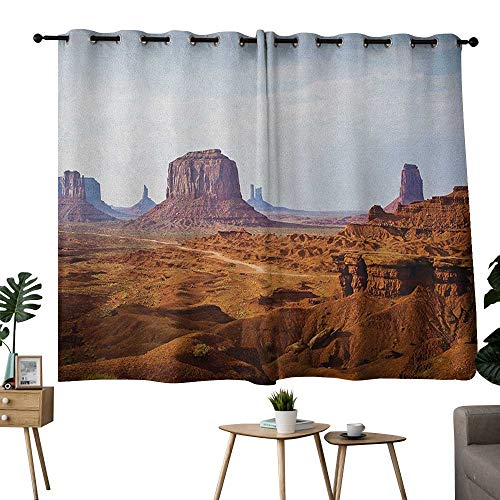 - NUOMANAN Curtains for Bedroom Desert,Monument Valley View from John Fords Point Merritt Butte Sandstone Image, Baby Blue Mauve Amber,Living Room and Bedroom Multicolor Printed Curtain Sets 42