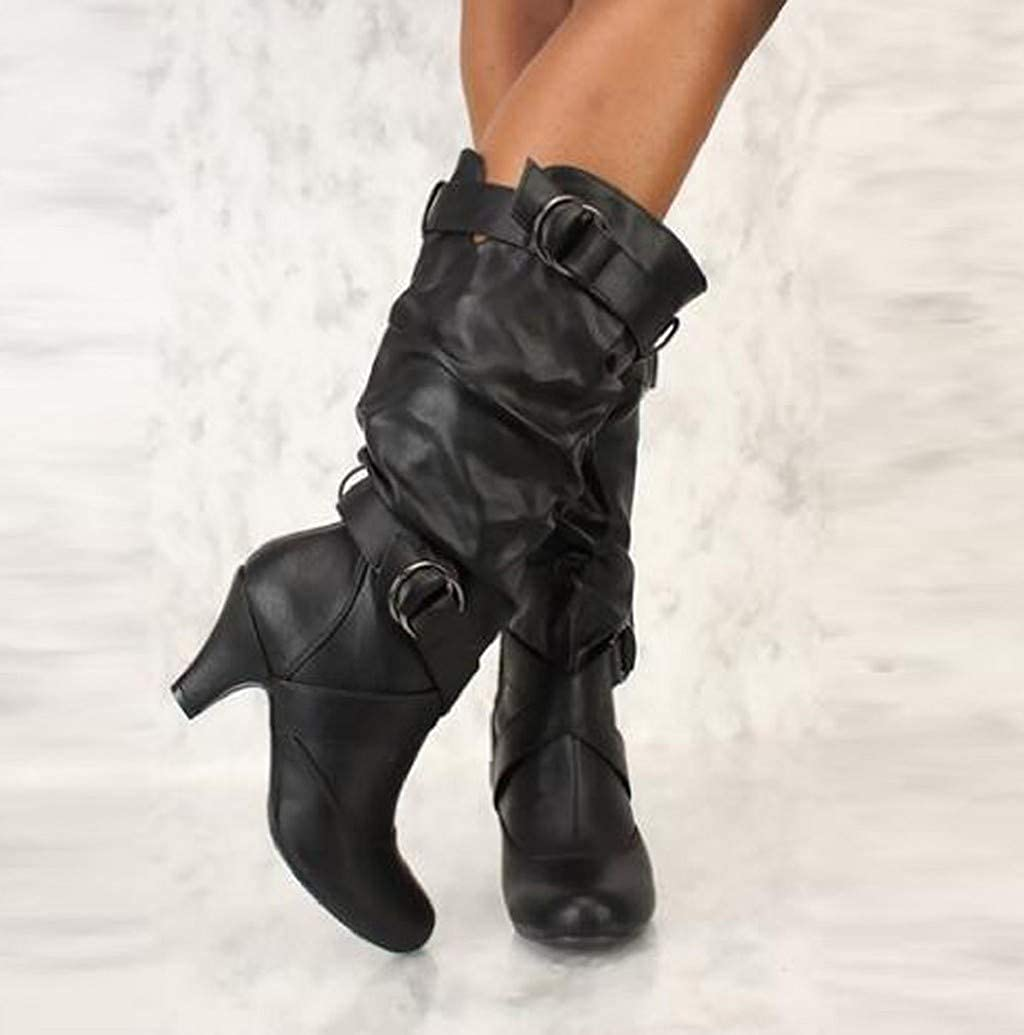 Wide Calf Knee High Boots for Women,Slouchy Leather Fall Winter Casual Tall Boot Shoes with Chunky Heel by Sopzxclim