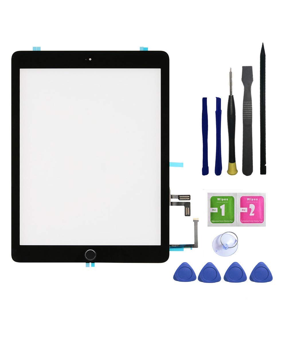 Feiyuetech Black iPad 5 2017 (A1822, A1823) Touch Screen Digitizer Replacement Front Glass Assembly -Includes Home Button + Camera Holder+PreInstalled Adhesive with Tools kit.