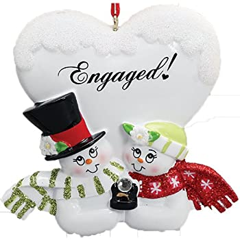 Amazon.com: Personalized Engaged! Christmas Tree Ornament ...