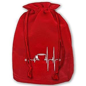 Coffee Life Heartbeat Red Velvet Drawstring Santa Toy Bag Gift Wrap Bag For Christmas Wedding Gifts