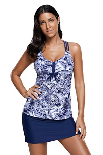Skirted Piece Tankini 2 (Ouregrace Womens V Neck underbrush Print Trio Straps Tankini Top With Skirted Two Pieces Bathing Suit S - XXXL (Blue, (US 14-16) XL))