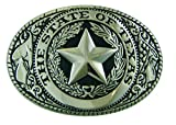 Texas State Seal Belt Buckle, Standard Size, Oval, Silver-tone Finish