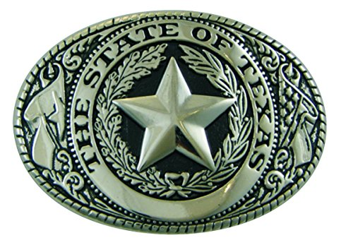 (Texas State Seal Belt Buckle, Standard Size, Oval, Silver-tone Finish)