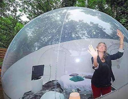 Rsen Tienda de campaña hinchable de burbujas, tienda de campaña familiar para acampada transparente, tienda de campaña de aire con kit de reparación y ...