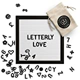 Letterly Love Letter Board - White Felt Letterboard 10x10 inch Black Frame - Black Alphabet Letters, Numbers and Symbols