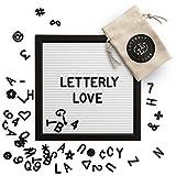 Letterly Love Letter Board -WhiteFeltLetterboard 10x10 inch Black Frame - Black Alphabet Letters, Numbers and Symbols