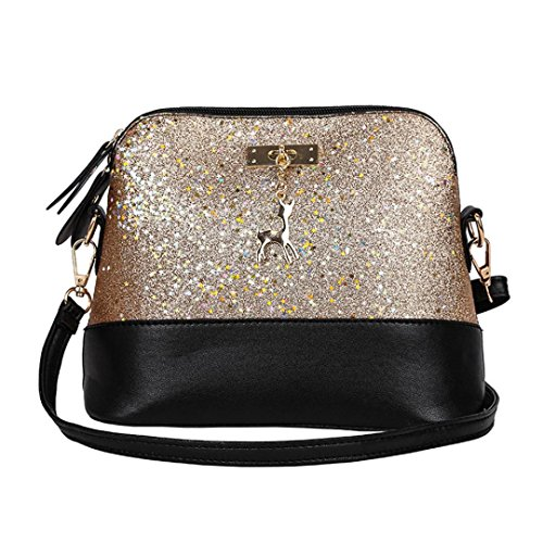 WILLTOO Womens Sequins Bag Fashion Handbag Purse Crossbody Shoulder Messenger Bag Deer (Gold)