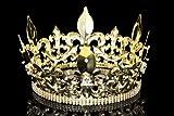 "4.5"" Tall Fleur-De-Lis King Royal Full Crown - Gold"
